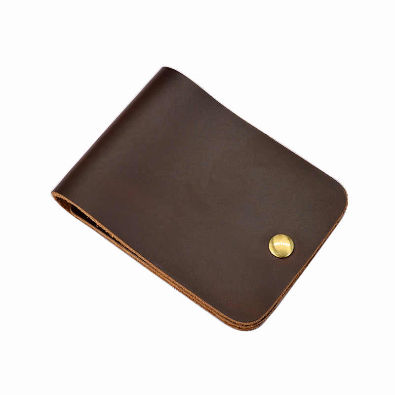 Cow Leather Men Bank Card Holder Designer Short Wallet for Credit Cards High Quality Crazy Horse Handmade Card Organizer Cover