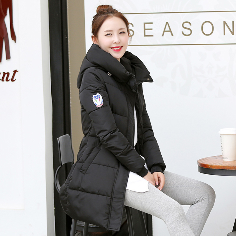 ФОТО 2016 Winter New Fashion Causal Medium Long Size Solid Color Hooded Large Size Thicken Slim Women Coat