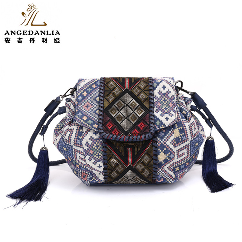 Angedanlia National Shoulder bag Vintage Ethnic Style Geometric Mosaic Shoulder Bag Handmade Bohemian Ladies's Handbag metting joura vintage bohemian ethnic tribal flower print stone handmade elastic headband hair band design hair accessories