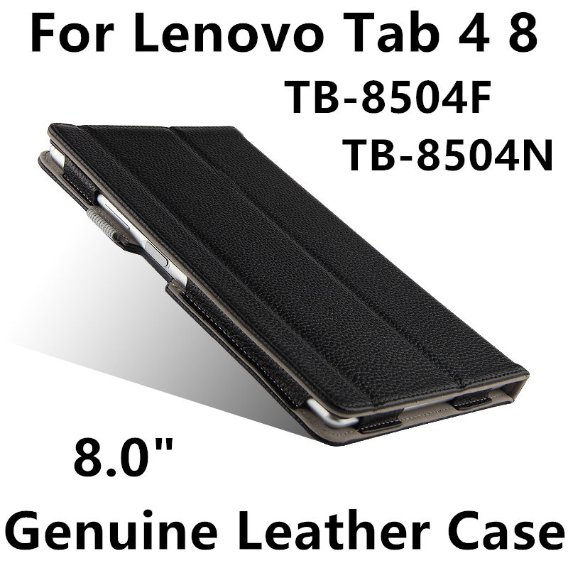 Case Cowhide For Lenovo Tab 4 8 Protective Protector smart cover Genuine Leather TB-8504F TB-8504N Sleeve Tablet tab48 8.0 inch case cowhide for lenovo ideapad miix 700 genuine protective smart cover leather tablet for miix4 pro miix 710 protector 12cover