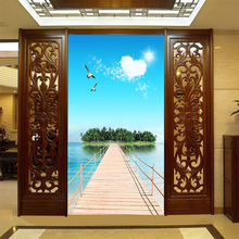 Classic fresh landscape mural blue sky withe clouds green mountains and pure lake wallpaper for home corridor  screen decor