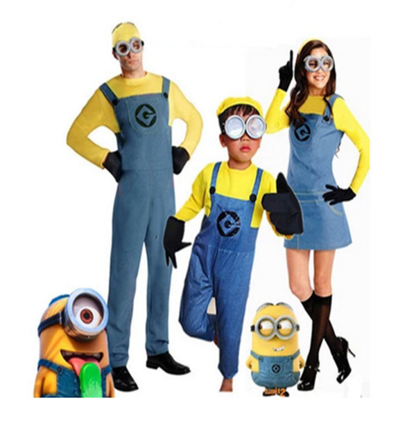 Family Child Boys Girls Minion Costume Parent Adult Minion Fancy Dress Halloween Cosplay  sc 1 st  AliExpress.com & Free PP! Family Child Boys Girls Minion Costume Parent Adult Minion ...
