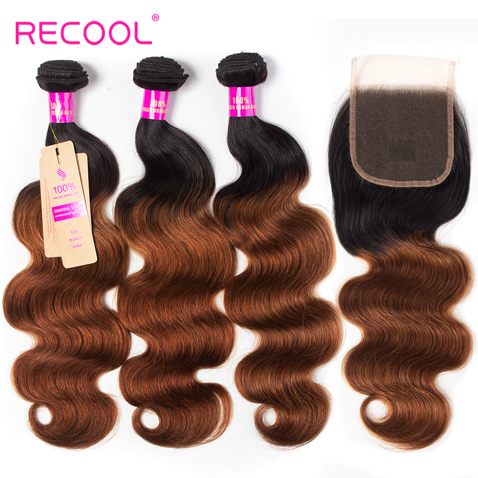 Recool Ombre Brazilian Body Hair 1B 30 Human Hair Bundles With Closure Ombre Hair Extension 3