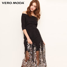 Vero Moda Women's Off-shoulder Embroidery Knitted Gauzy Splice Dress Party Dress | 31837C533(China)