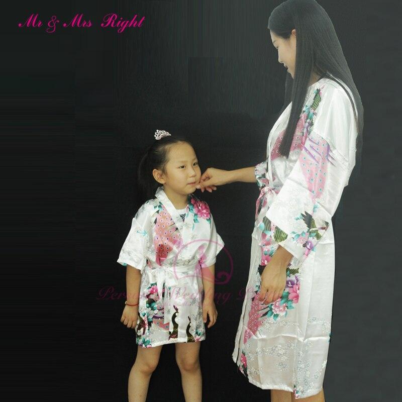 Fashion Floral Girl Robes Satin Kimono Bathrobe Peacock Gowns For Little Bride Kids Bath Sleepwear Summer Skirts