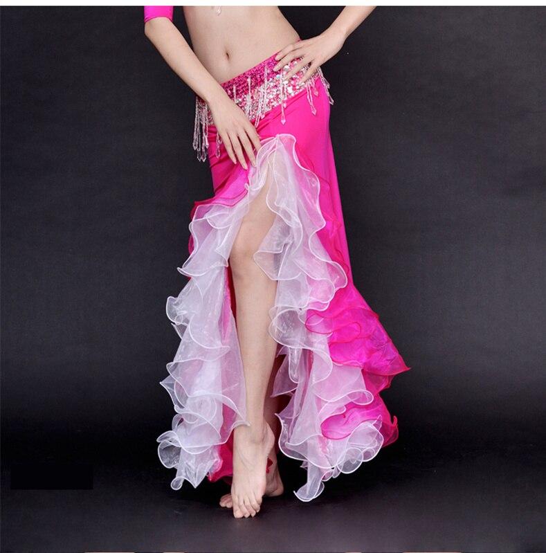 Double Colors Women Dancewear Belly Dance Clothes Full Circle Long Waist Maxi Skirt Side Split Bubble Skirt Belly Dance Skirts