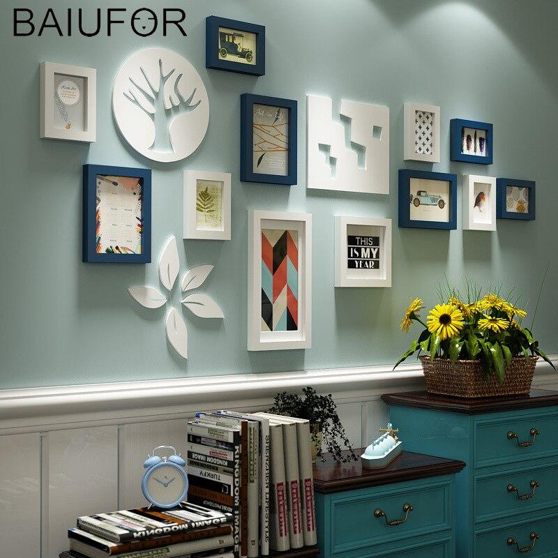 BAIUFOR 12 ชิ้น/เซ็ตโมเดิร์นกรอบรูปชุดสีขาวและสีฟ้า Vintage, nordic Wall Wall ภาพวาดกรอบ-ใน กรอบ จาก บ้านและสวน บน   1