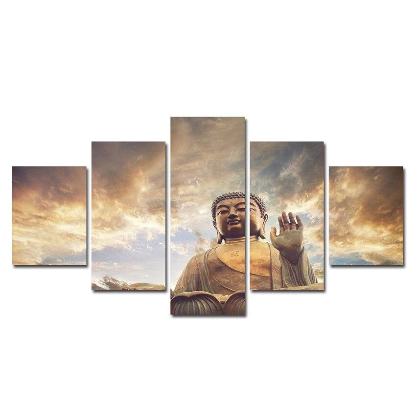 La Meditation Mur Photos Pour Salon Bouddha Mur Art Serenite 5 Pcs