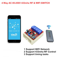 2017 WiFi Light Switch 4CH 110V 220V 250V AC Control By Phone Interruptor 433mhz RF Remote
