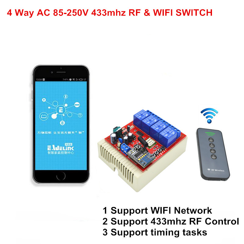 Smart WiFi Switch 4CH 110V 220V 250V AC Control by Phone