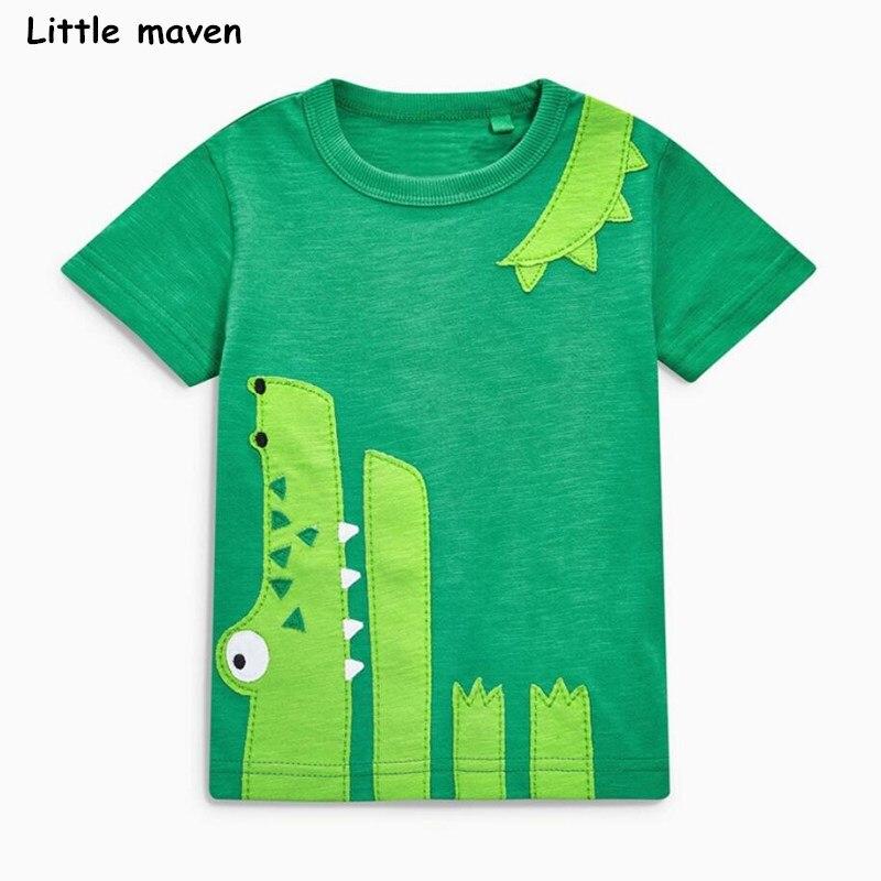 Little maven children 2018 summer baby boy clothes short sleeve t shirt crocodile applique cotton brand tee tops 50978