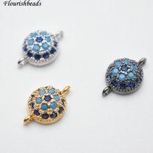 Проложили Синий CZ Циркон Бусины 8 мм круглый Форма две петли Jewelry Инструменты для наращивания волос Цепочки и ожерелья ссылки