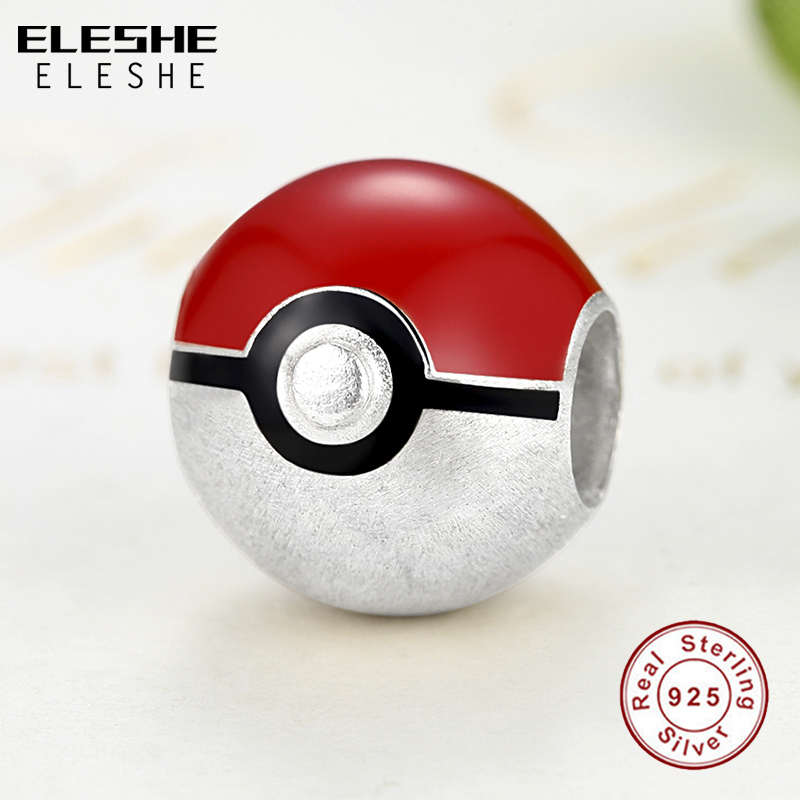 ELESHE Real 925 Pikachu Elf Bead Pokemon Ash Ball Charm Fit Pandora - Bisutería - foto 2