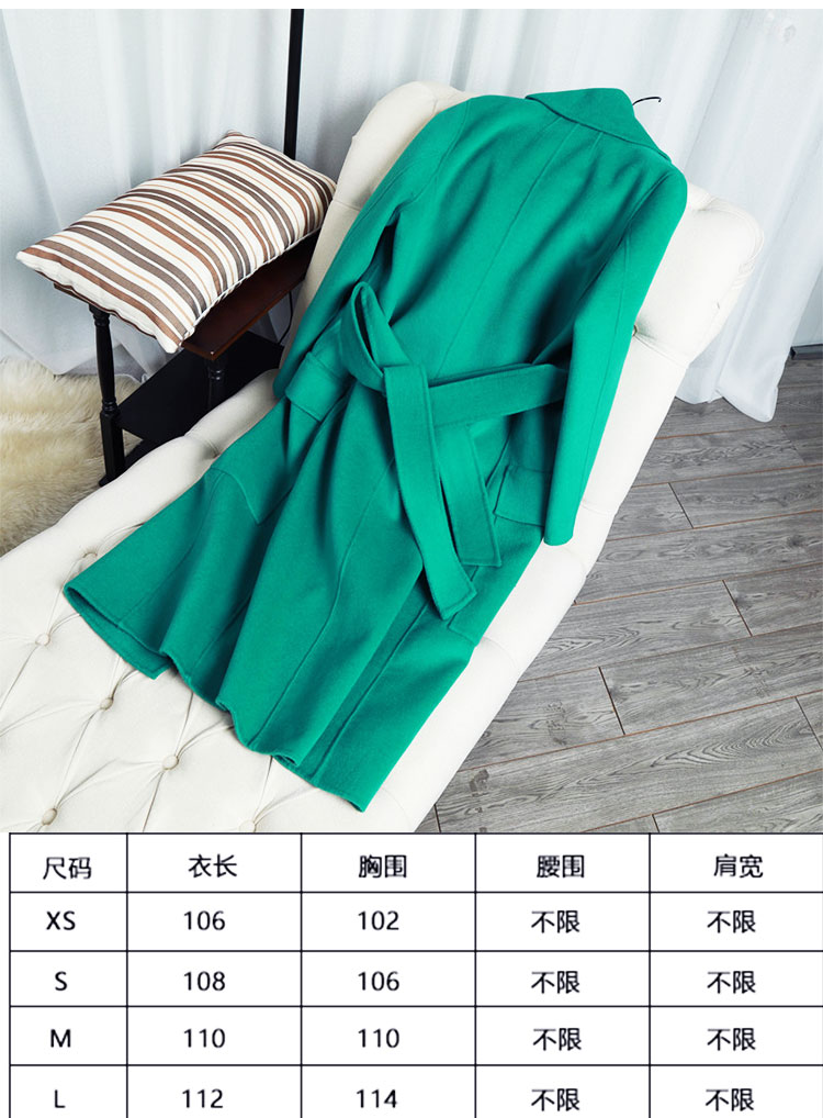 Green Survêtement Laine En Double 100 Moyen Femme face Vert De D'hiver Nouvelle long Femmes Arrivée Manteau Cachemire 2017 Z1wTqCB