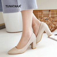 Plus Size Flock Chunky High Heel Pumps Pointed Toe Dress Spring Fall Fashion Women Shoes Blue Black Beige