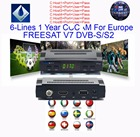 FREESAT V7 With 1 Year Europe Cline 6 lines cam Spain Germany UK French Polsat NL Channels Satellite receiver DVBS2 set top
