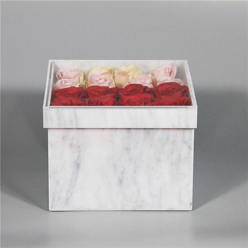 Acrylique marbre Rose fleur boîte fleur Bouquet saint valentin cadeau boîte de mariage décor