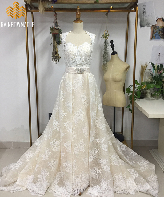70af5bab9e88 Unique Champagne Lace Mermaid Wedding Dresses With Detachable Overcoat  Beautiful Strapless Chapel Train Real Photo Wedding Dress