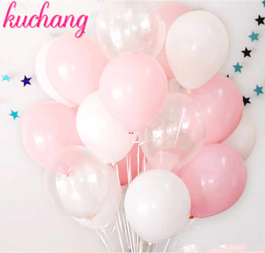 12pcs/set pink white transparent matt latex balloons are suitable for wedding birthday arrangement, festival party activities.