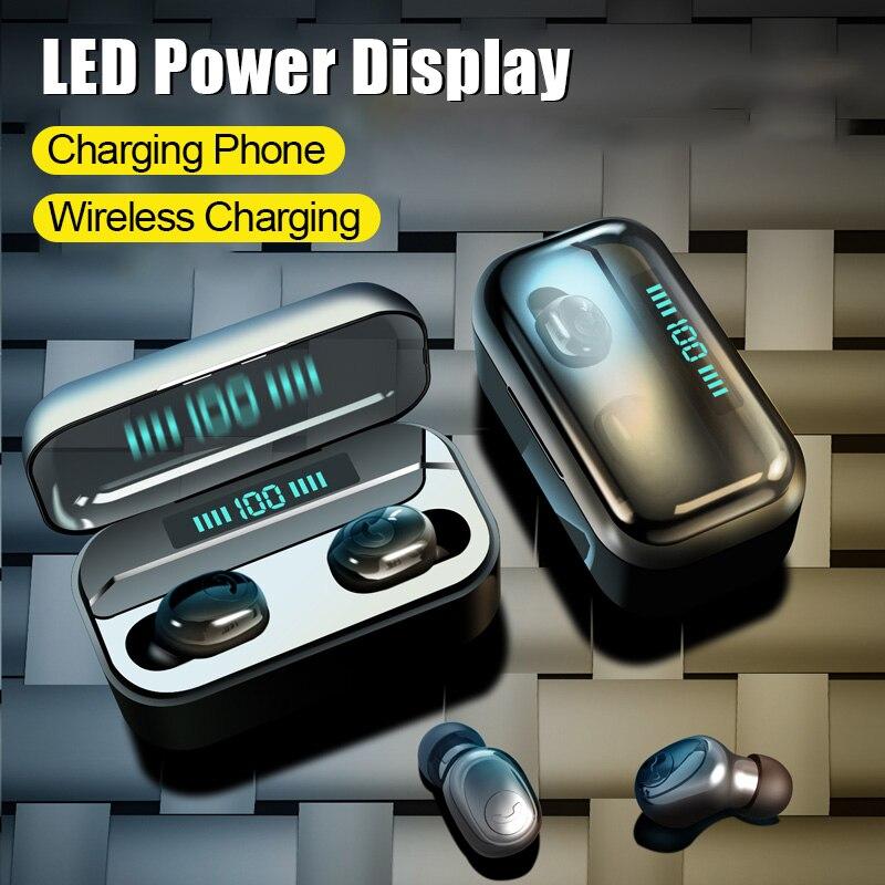 VOULAO Bluetooth Earphone 8D Stereo Sport Wireless Earbuds Headset Mini TWS Earphones Waterproof Headphone With 3500mAh Power