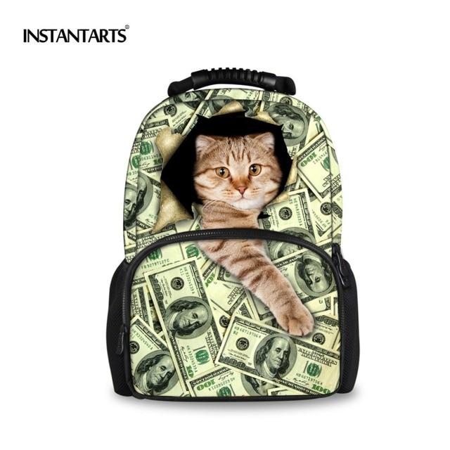 885e272435c5 US $28.11 24% OFF|INSTANTARTS 3D Felt Cat Printing Backpack for Teenager  Girls Travel Laptop Women School bags College Chlidren Best Gift Bagpack  -in ...