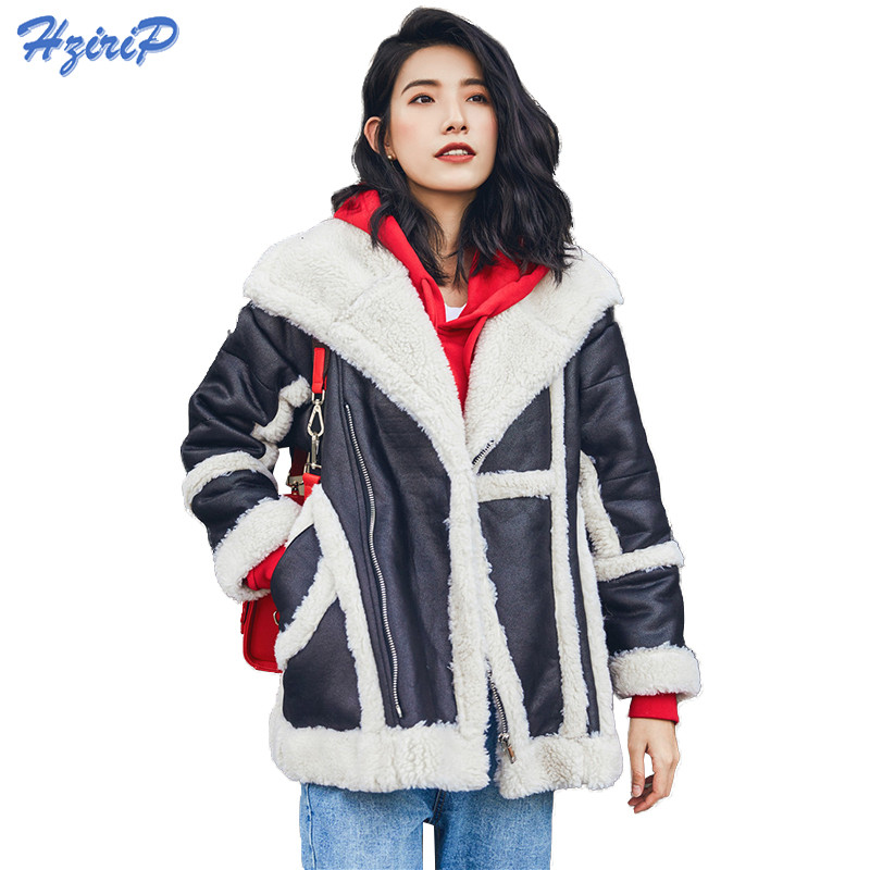 HziriP Faux Leather Suede Motorcycle Jacket High Quality Fall Winter Coat Women Thick Lambs Wool Fur Collar Warm Shearling Coats
