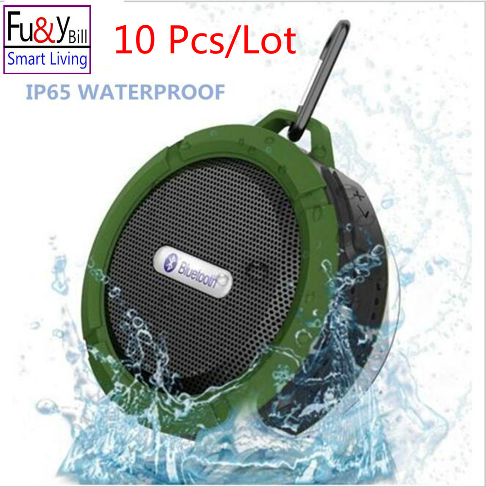 купить (10Pcs/Lot) C6 Wireless Waterproof Speaker with 5W Drive,Support SD TF Card , Suction Cup, Buit-in Mic, Hands-Free Speakerphone недорого
