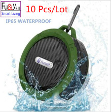 (10Pcs/Lot) C6 Wi-fi Waterproof Speaker with 5W Drive,Assist SD TF Card , Suction Cup, Buit-in Mic, Fingers-Free Speakerphone