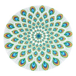 Round Feather Summer Indian Mandala Pattern Tapestry Wall Hanging Beach Throw Towel Yoga Mat Decorative150Cm Round Beach Towe