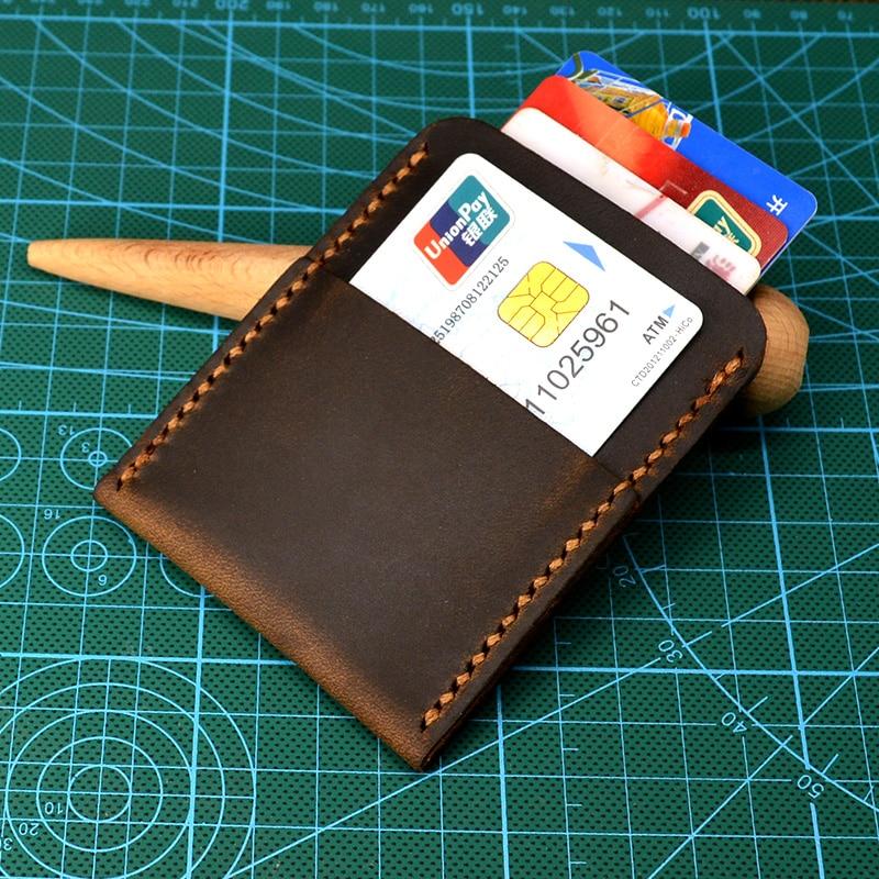 Retro Handmade Credit Card Holder Men Mini Wallet For Credit Id Card Cover Slim Front Pocket CardCase Top Crazy Horse Leather