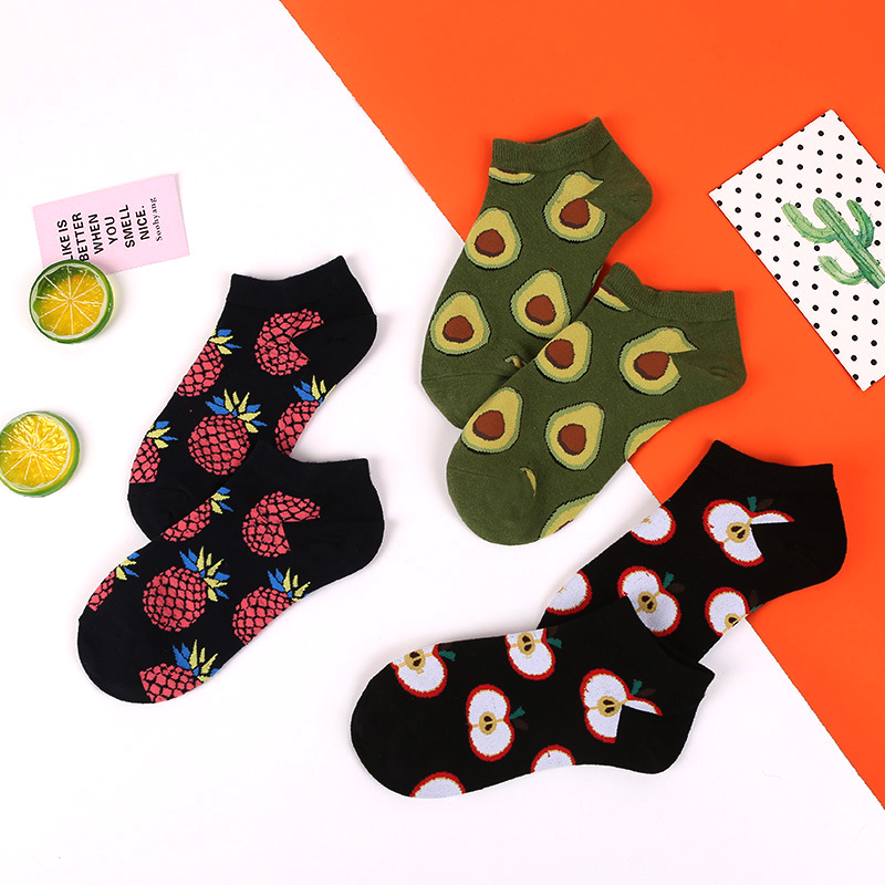 Crew Avocado Pineapple Cherry Apple Fashion Fruit   Socks   Happy Cotton Funny Ankle Men Short No Show Summer Casual   Socks   Women