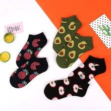 Crew Avocado Pineapple Cherry Apple Fashion Fruit Socks Happy Cotton Funny Ankle