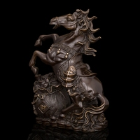 Chinese zodiac ancient bronze Money horse standing figurine statue fengshui lucky China's Valuable antiques home decoration
