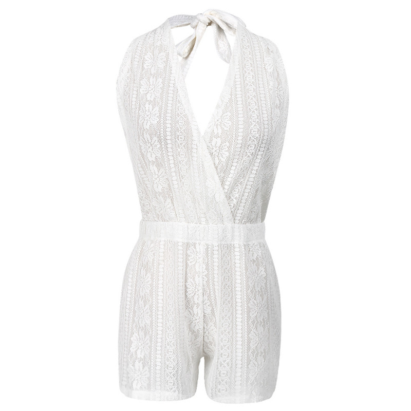 Summer Women Sexy Deep V-Neck Lace Halter Playsuit Backless Floral Crochet Party Jumpsuit Romper Outfit Sunsuit Clubwear NEW