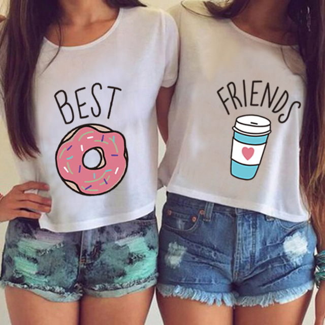 SexeMara Knitting 2016 Hot Women T-shirt Funny Best Friends T Shirt Donut And Coffee Duo Flowy Print Casual Tees Couple Tops