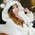 Autumn Winter Women's Flannel Cartoon Sheep Cute Long Sleeve Hooded Robes Pajamas Set Home Clothes