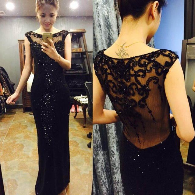 Real Pictures Best Luxury Beaded Sheer Back Mermaid Black Sequins