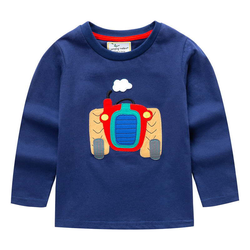 Jumping meters New Boys T shirt Spring Long Sleeve Cotton Kids T-shirts applique Autumn Baby Toddler Boys T shirt Tops Children crew neck color block triangle applique long sleeve t shirt