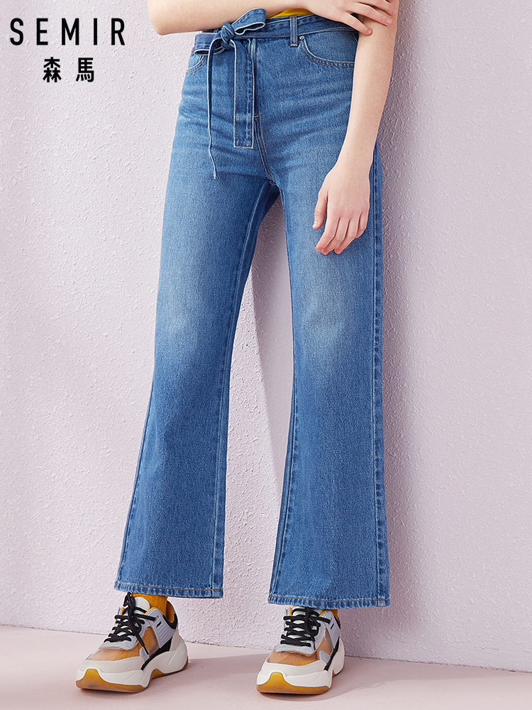 SEMIR Jeans Women 2019 Summer New Korean Version Trend Bandages Trumpet Pants Thin Student Trousers