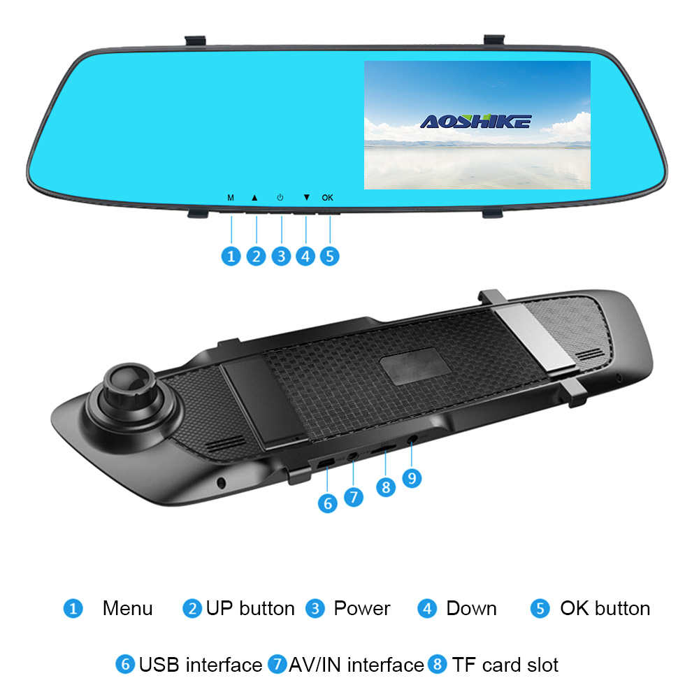 Image 4 - AOSHIKE 4.7 Inch Driving Recorder Car Rearview Mirror Recorder Full HD 1080P Dual Recording Display Car DVR Vehicle Camera-in DVR/Dash Camera from Automobiles & Motorcycles