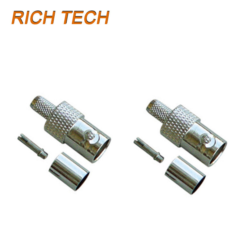 12pcs/lot BNC female jack crimp connector straight female BNC socket adapter BNC RG58 RG59 RG6 converter Wholesales