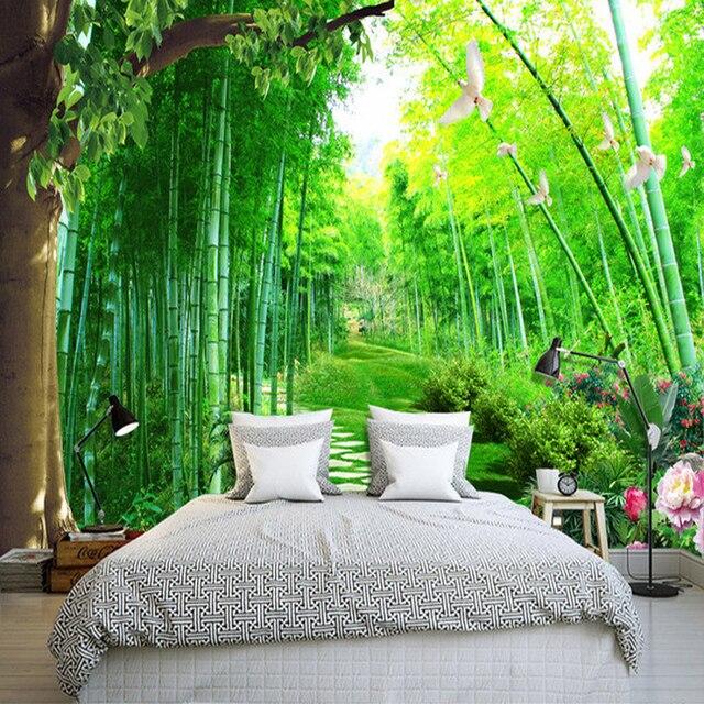 Taille Personnalisée Photo Jardin Paysage Bambou 3D Stéréo Papier Peint Salon  Salle à Manger Chambre Fond