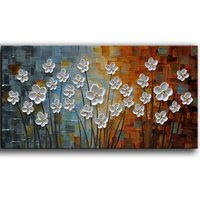 100 Hand Painted Oil Painting On Canvas White Flowers Paintings Texture Palette Knife Paintings Modern Home