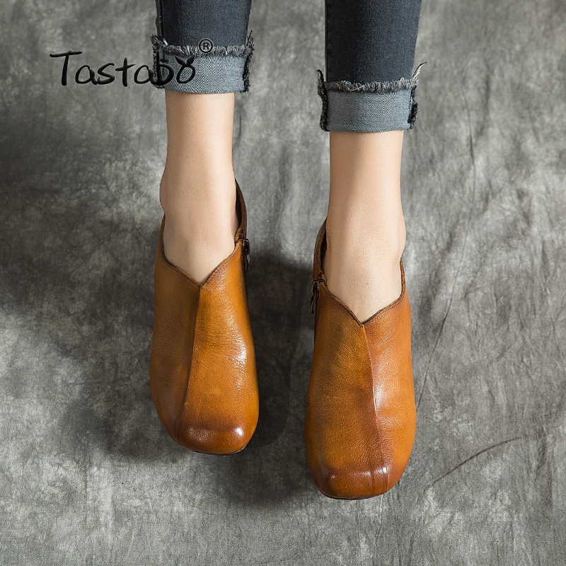 Tastabo 2019 spring and summer new high heels Vintage handmade women s shoes Comfortable casual work