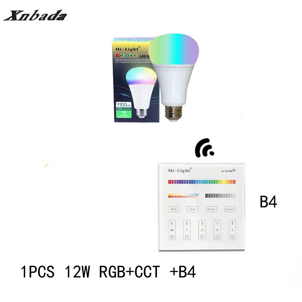 Mi Light 12W E27 RGB+CCT Led Bulb Dimmable AC85-265V Led Lamp B4(3V) Panel Remote MiLight Led Spotlight light Free Shipping