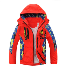 Spring Autumn Boy's Letter Printed Pattern Coats Children's Water Repellent Windproof Softshell Jackets Tops