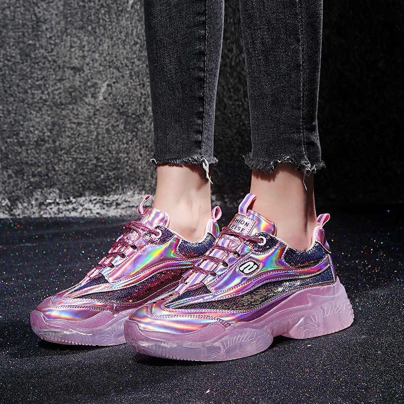 753dc763ca Spring New Chunky Sneakers Harajuku Casual Dad Shoes Platform Sneakers  Transparent Jelly Sole Breathable Mesh Patent Sneakers