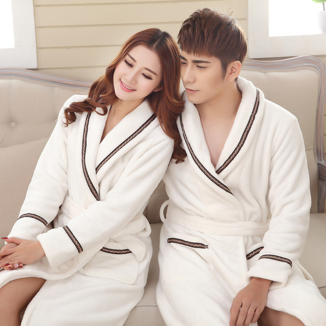 9ac34ff834 Autumn Winter Women Thickening Cotton Flannel Pajamas Couples Bathrobe Coral  Sleece Warm Sleepwear Lovers Bath Robes