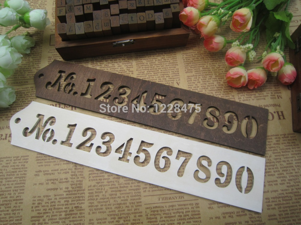 1pcs/lot New vintage tower series wooden Template drawing pattern wooden number template white and brown color