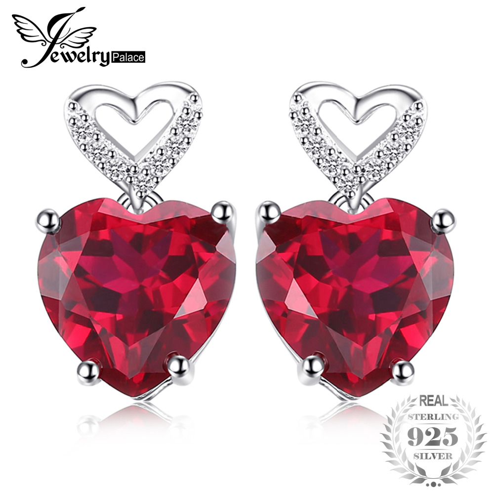 Jewelrypalace сердце любовь 7.2ct создан красный рубин падения Длинные Висячие серьги 925 серебро Best Свадебные украшения Серьги для Для женщин